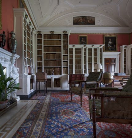 The Library at Belton House, Lincolnshire. The room was a dining room in the seventeenth century, changed into a drawing room in 1778, and was converted into a library in 1876.