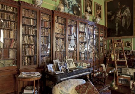 Bookcases in the Library at Hatchlands Park, Surrey.