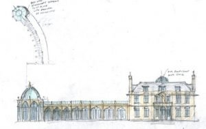 Hard drawing of a large country house
