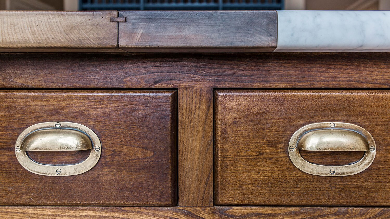 Cast drawer handles based on those in Lanhydrock kitchen