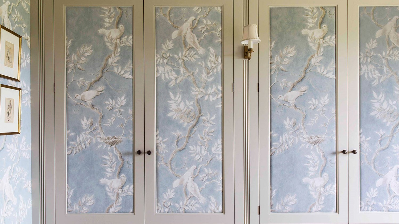 Slightly padded fabric panels on the wardrobe doors