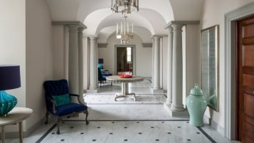 Grand hallway in a 20th century villa in Tuscany