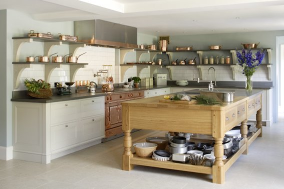 A kitchen island designed by Artichoke inspired by an Edwardian cook's kitchen.
