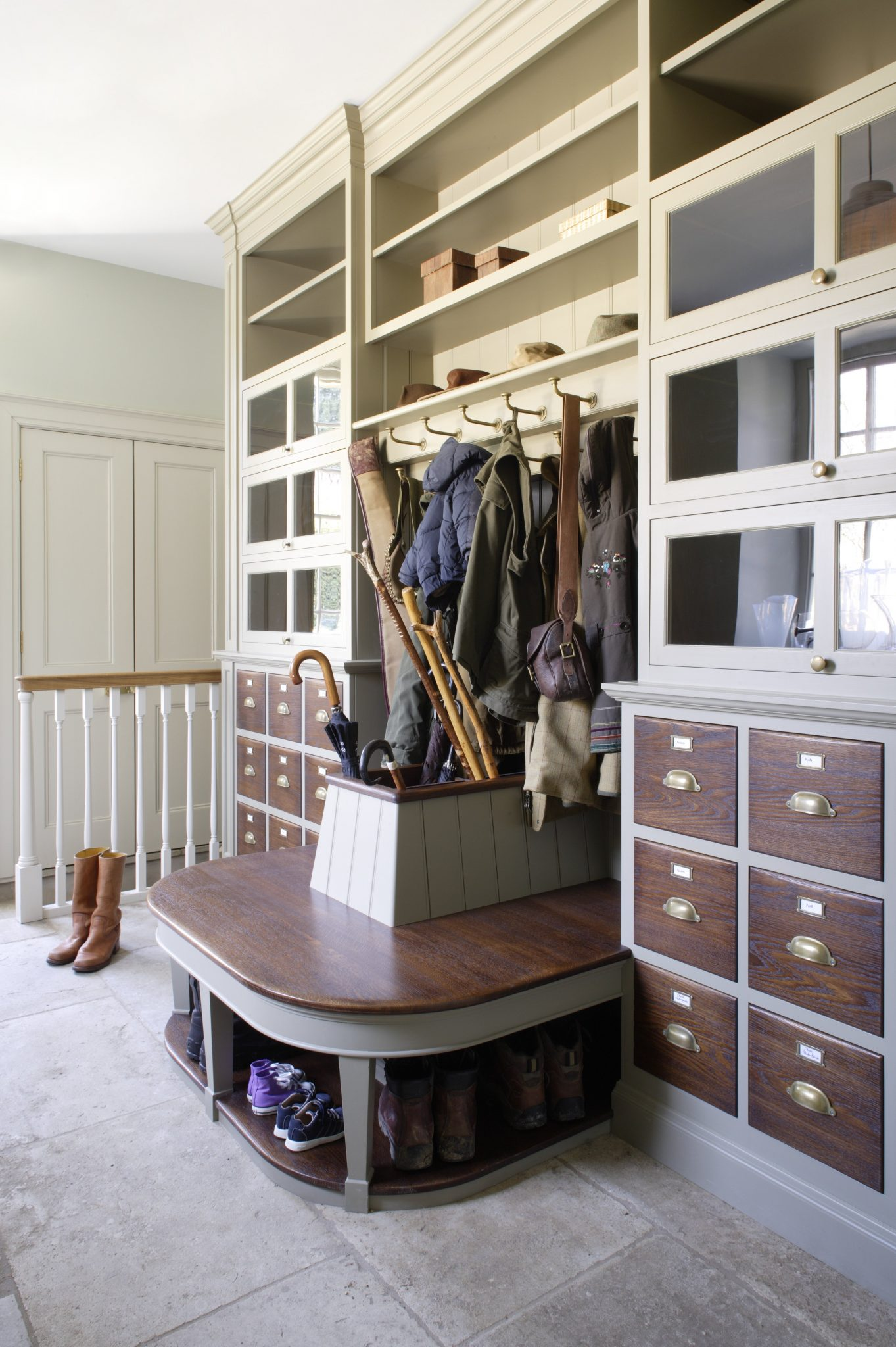 boot room furniture with coats