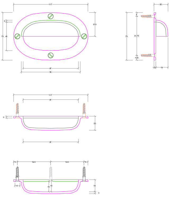 Technical drawing in preparation for creating a mould for a new handle