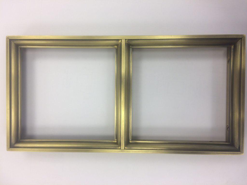 Aged brass window fame for kitchen
