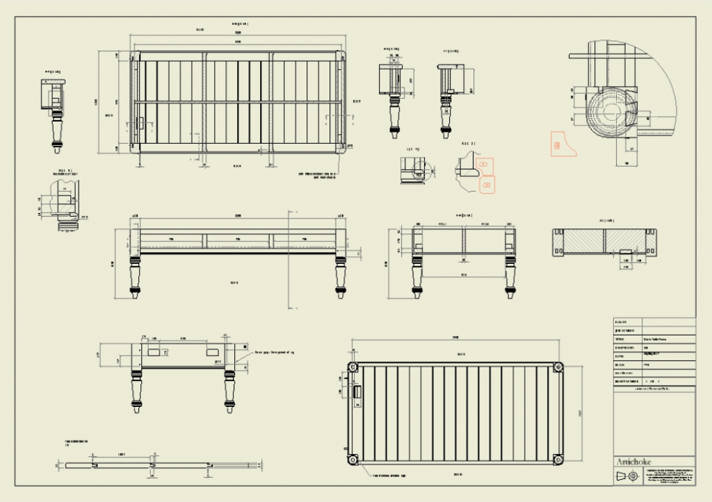 Technical drawings of a kitchen island