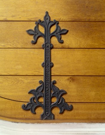 One of the inscribed Gothic hinges on the Library door at Tyntesfield. Only available as a scan.