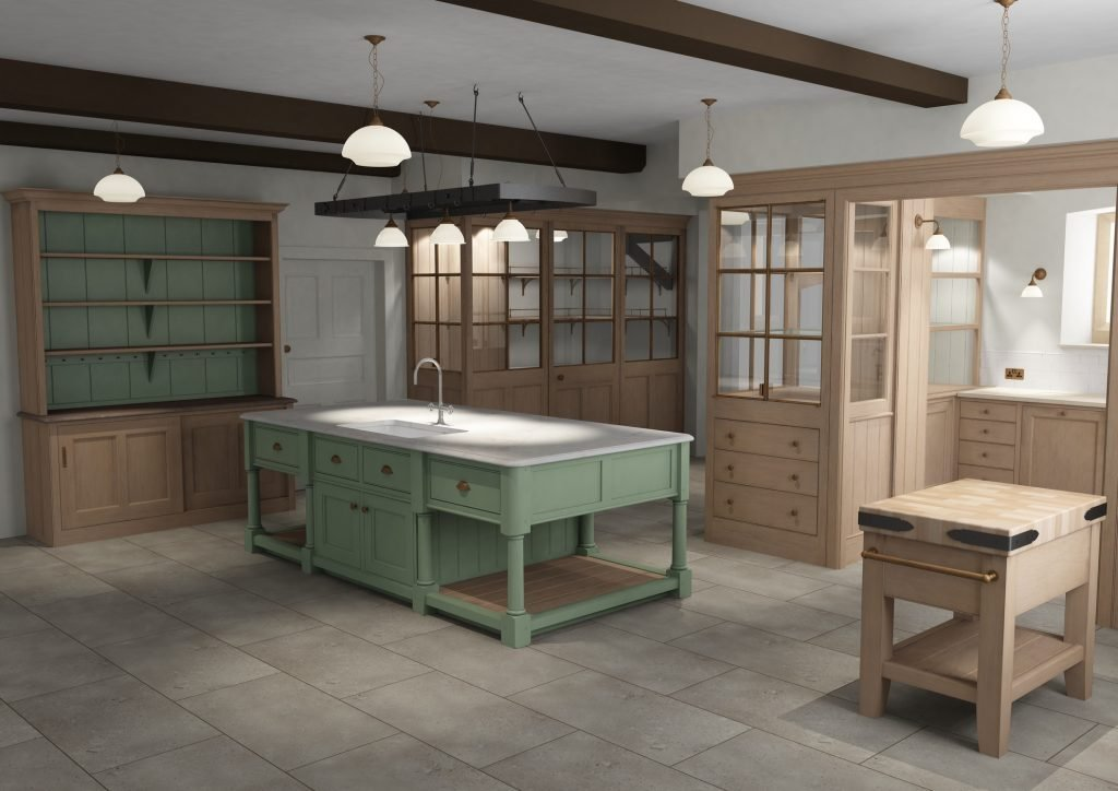 Image of a green kitchen island