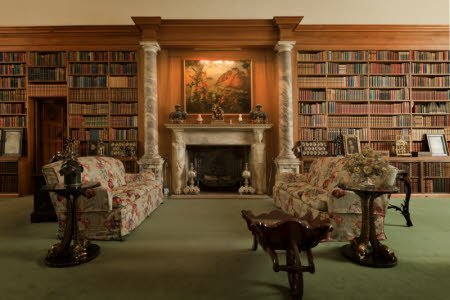 The Library at Anglesey Abbey in Cambridgeshire. The Library was built in 1937-8 by Sidney Parvin to house Lord Fairhaven's collection of books.