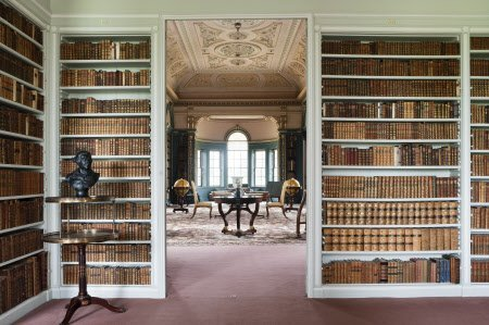 View from the Book Room into the Library at Wimpole Hall, Cambridgeshire. The Book Room was created by John Soane in 1806 by annexing part of the orangery.