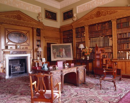 View of the Library at Nostell Priory: the first room to be remodelled by Robert Adam. The view shows the Chippendale library table, lyre-back chairs (1767-8) and bookcases.