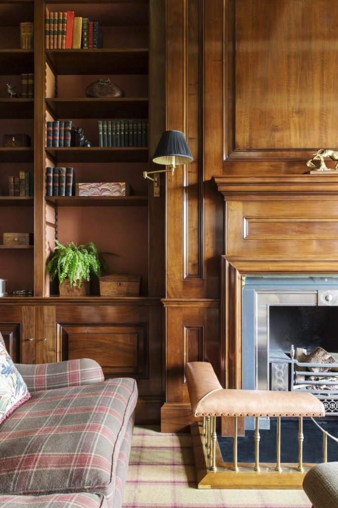 wood paneling in a country house study