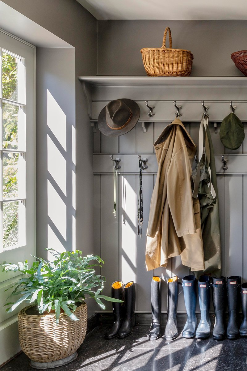 Country house boot room coat pegs
