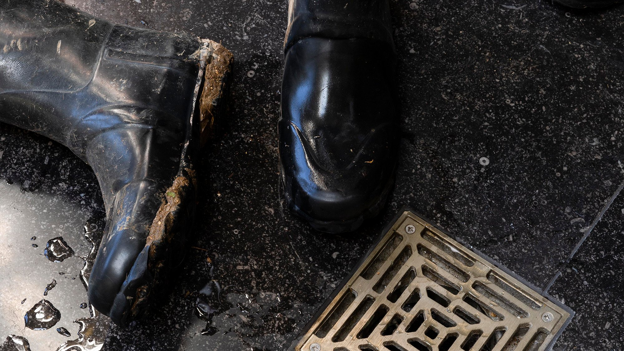Country house boot room drain