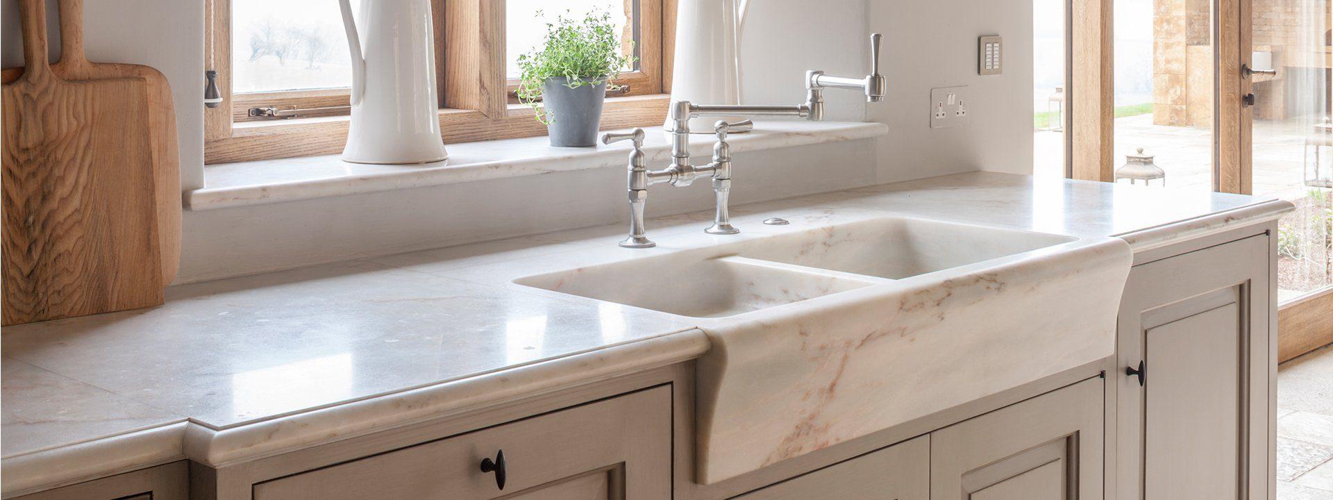 artichoke kitchens marble counter sink