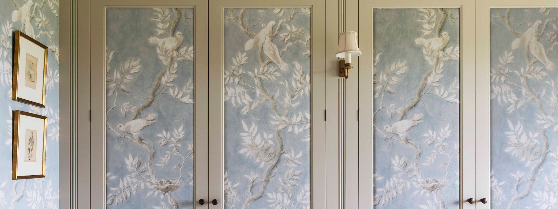 bespoke dressing room wallpaper panelling