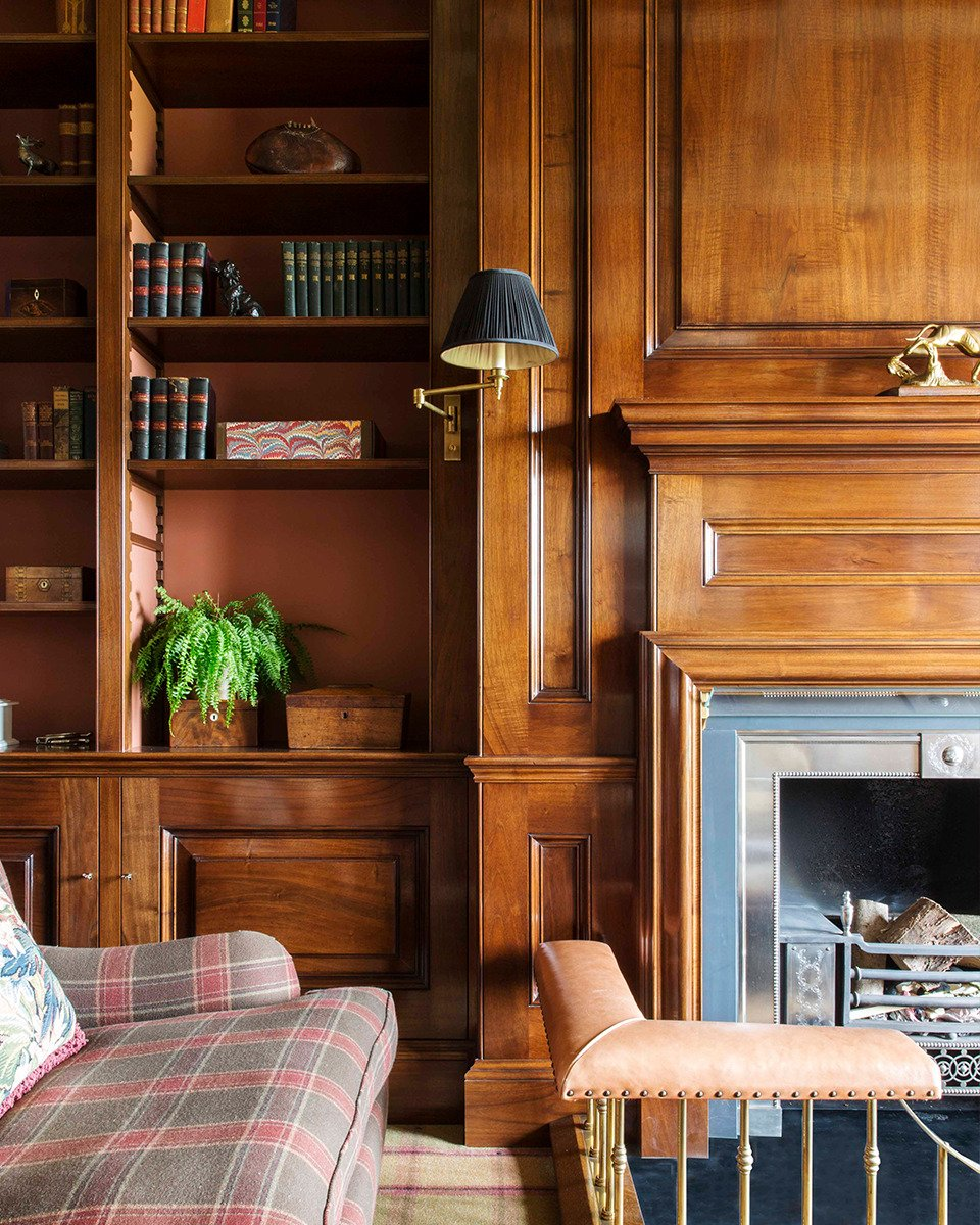 hunting lodge library interior design