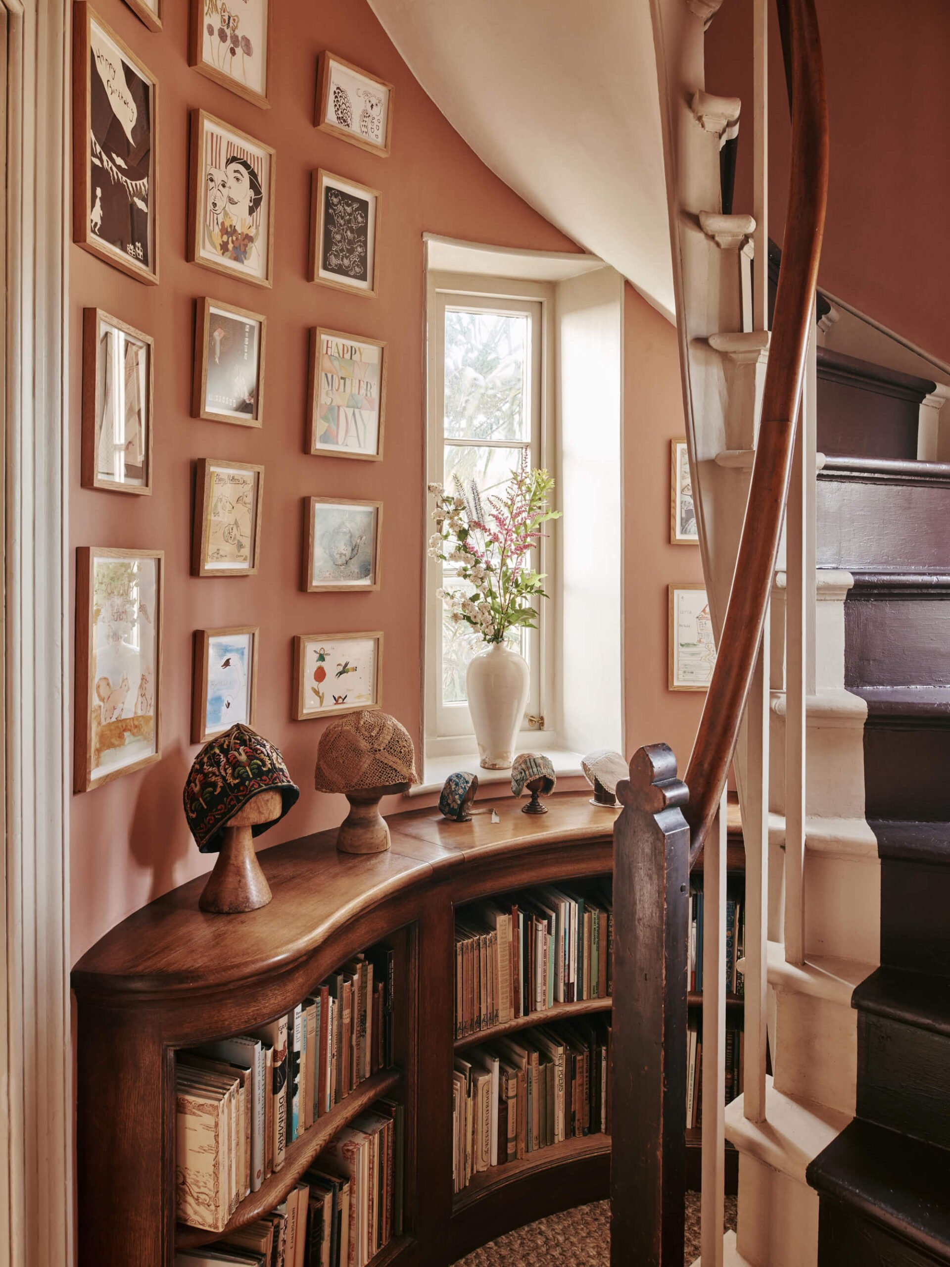 Timber bookcase with books