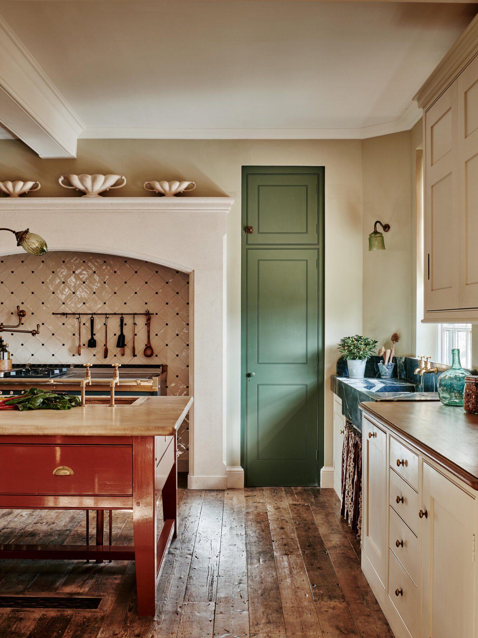 Period kitchen with green door