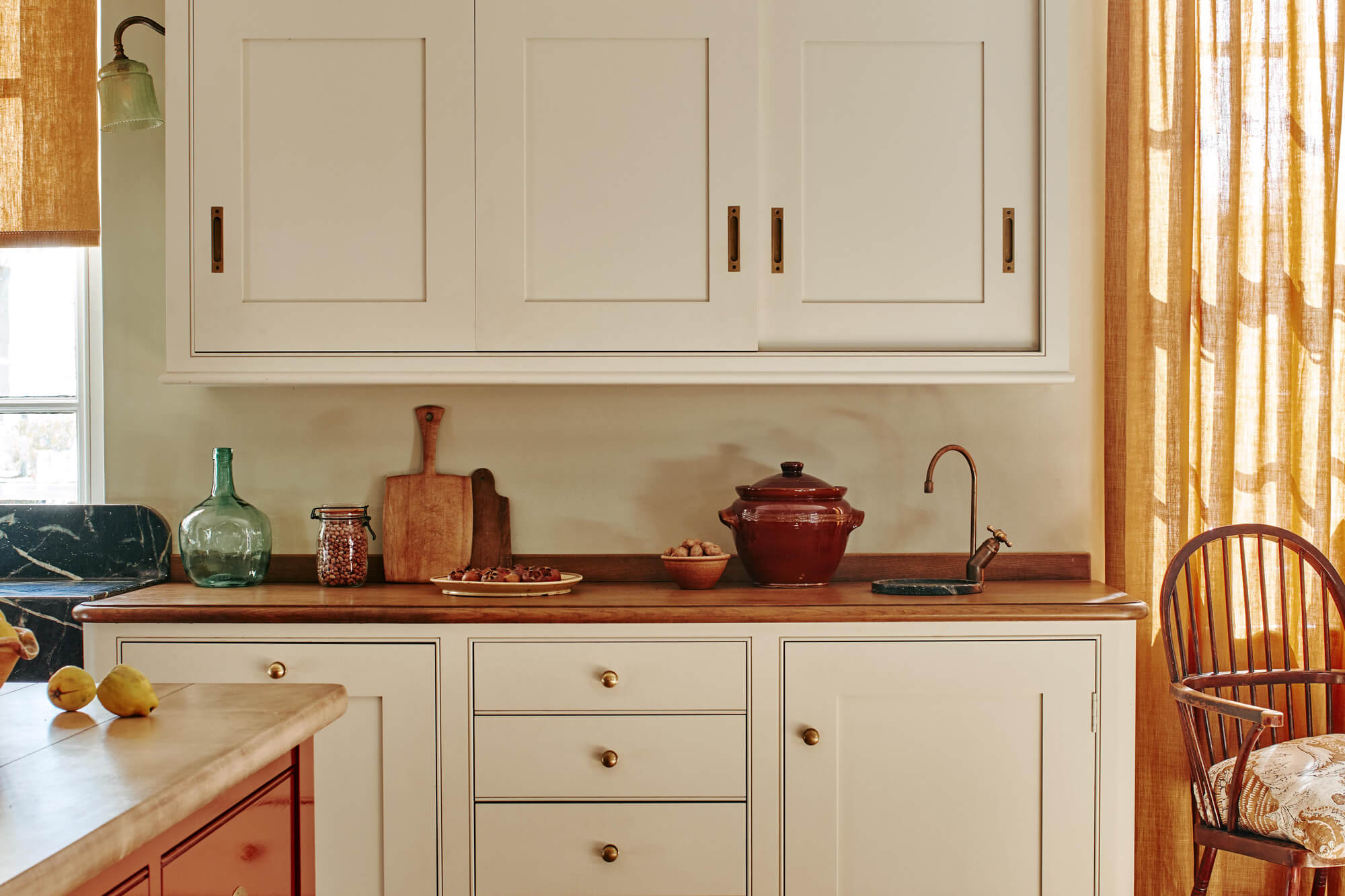 traditional kitchen cabinets with oak worktop