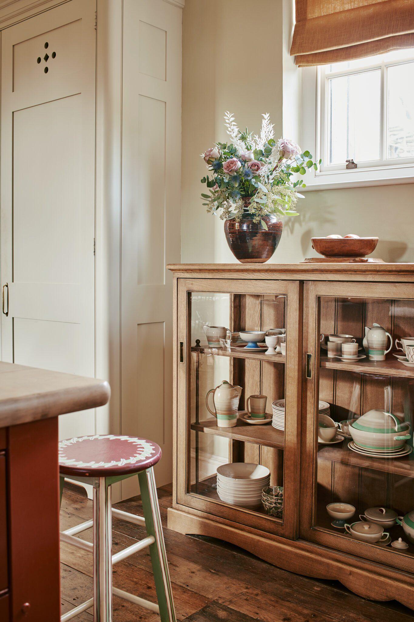 glazed kitchen cabinet